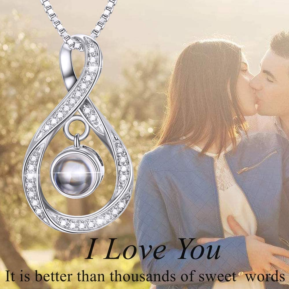 I Love You 100 Languages Infinity Pendant Necklace 925 Sterling Silver for Women Mother's Day Gift