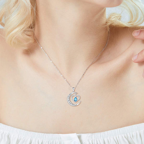 Heart Moon Pendant Necklace 925 Sterling Silver Necklaces for Women Girls