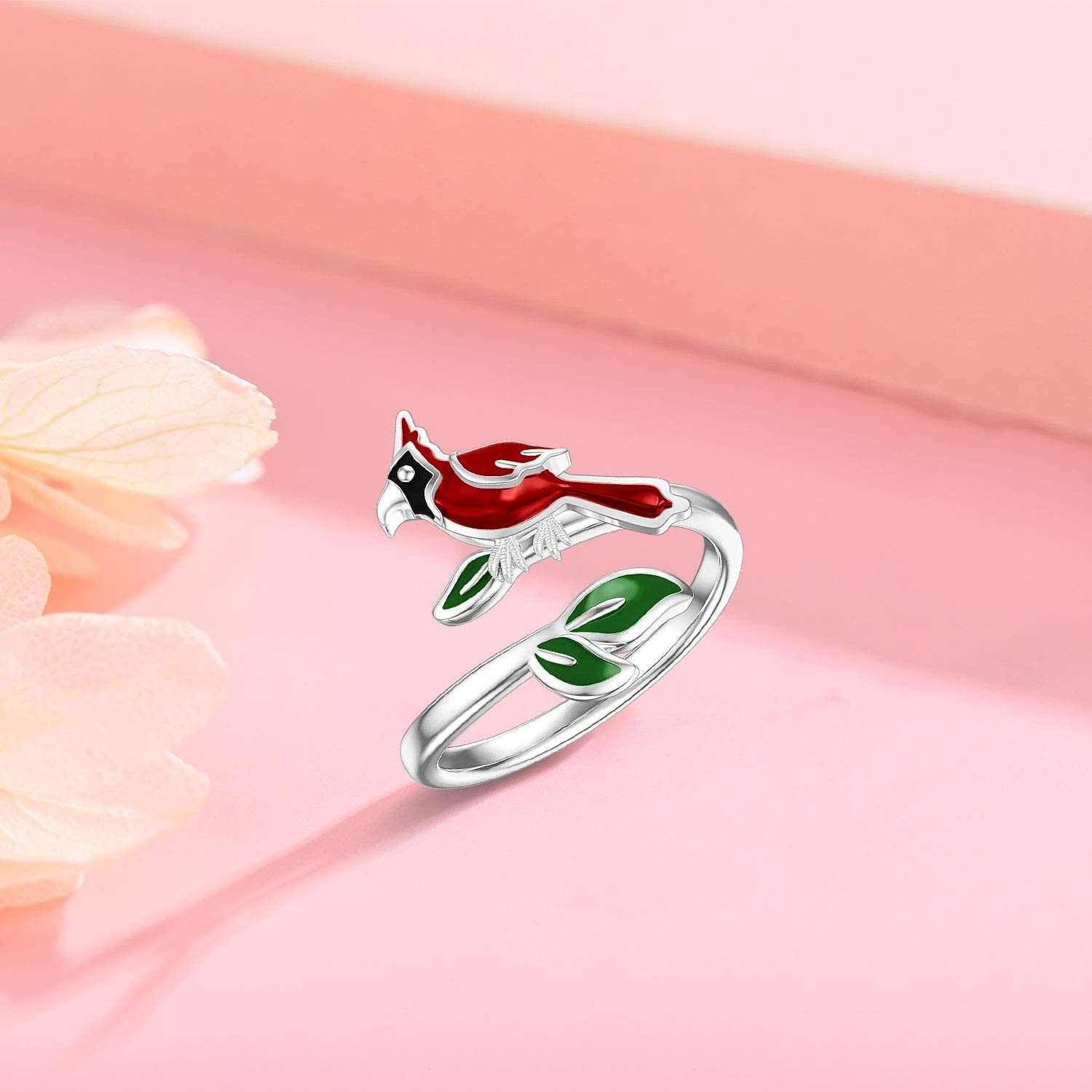 Cardinal Red Bird Open Ring 925 Sterling Silver Jewelry Memorial Gifts for Women Mother