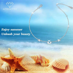 Starfish Shell Anklet 925 Sterling Silver Jewelry Gifts for Women Wife Girls