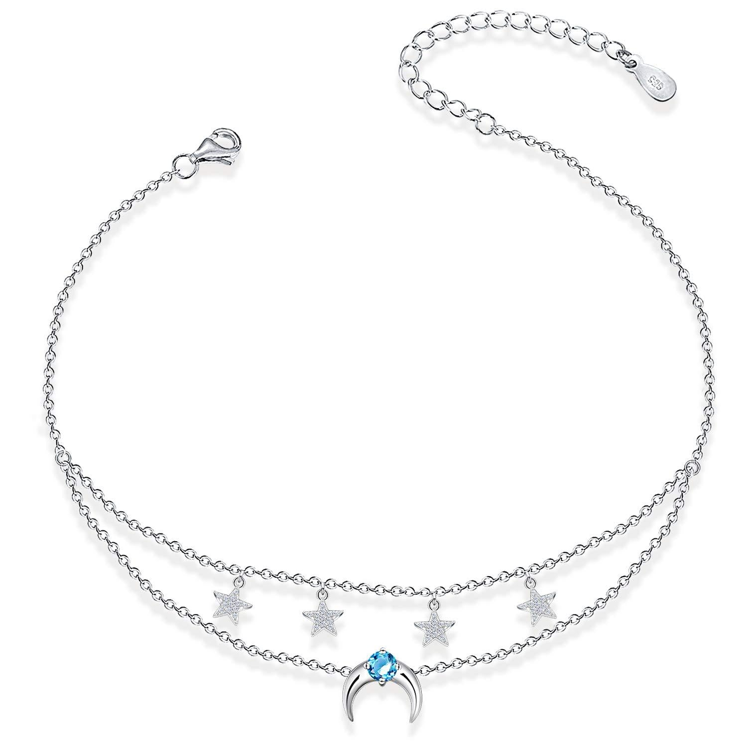Starfish Layered Anklet 925 Sterling Silver