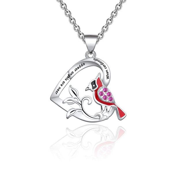 Cardinal Heart Pendant Necklace 925 Sterling Silver Gift for Women