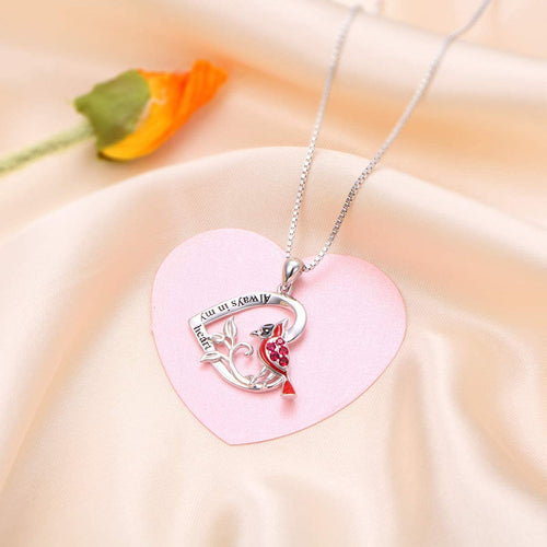Red Bird Cardinal Heart Pendant Necklace 925 Sterling Silver Gift for Women Girls