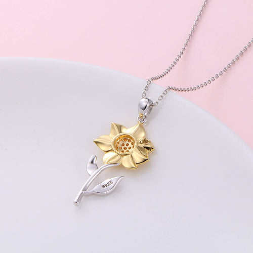 Sunflower Pendant Necklace 925 Sterling Silver Jewelry for Women