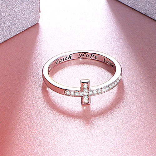 Faith Hope Love Sideways Crystal Cross Ring