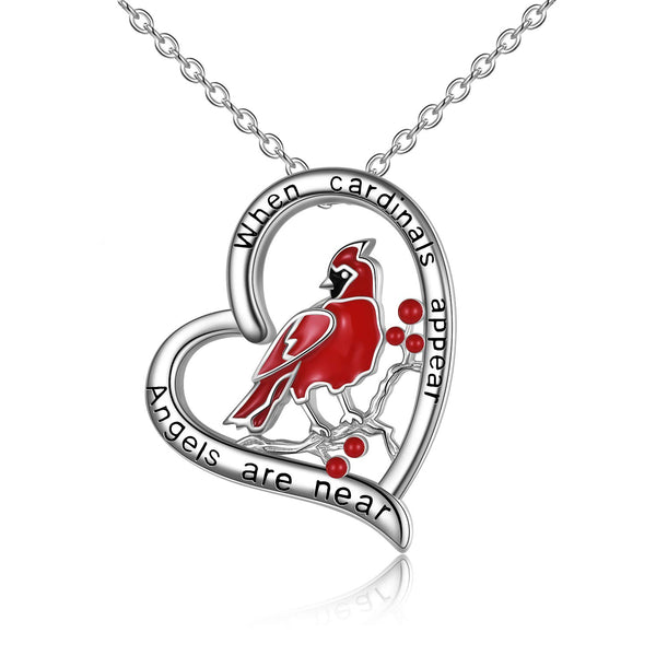 Cardinal Heart Pendant Sterling Silver Necklace for Women Girls
