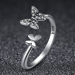 Two Butterflys White Crystal Open Ring