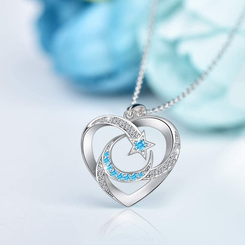 Moon & Star Heart Pendants 925 Sterling Silver Necklace for Christmas Valentine's Day