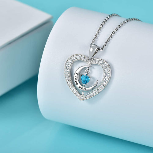 Moon Heart Pendants Necklace 925 Sterling Silver for Girlfriend Wife Mother Sister
