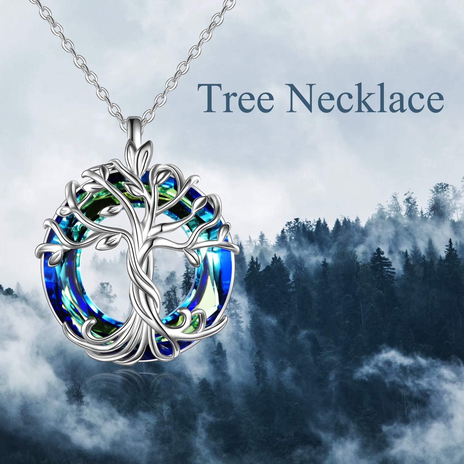 Tree of Life with Blue Circle Crystal Pendant Necklace Jewelry Gifts for Mom Women Girls Friend
