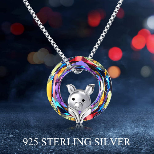 Lovely Pig Volcano Crystal Pendant Animal Necklace Jewelry Gift for Women Girl Birthday
