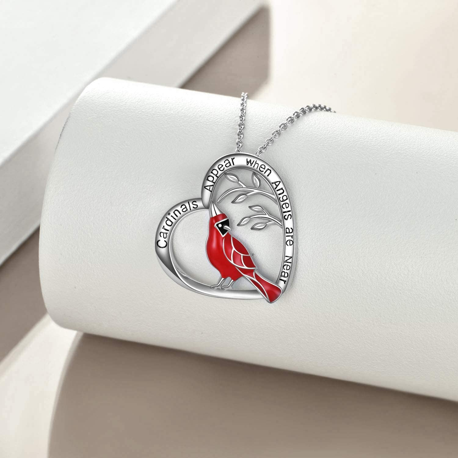 Cardinal Heart Pendant Necklace Sterling Silver Gifts for Women