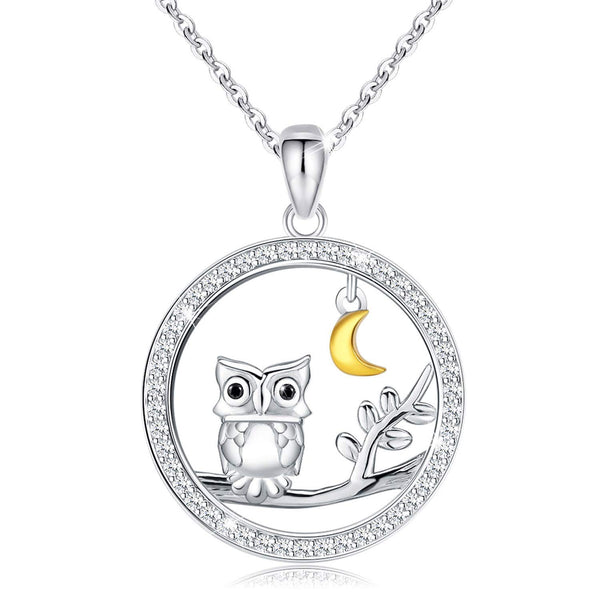 Owl Tree Moon Pendant Necklace 925 Sterling Silver for Women Girl