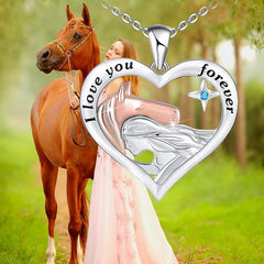 Horse and Girls 925 Sterling Silver Heart Pendant Necklace Jewelry Gifts for Birthday Christmas