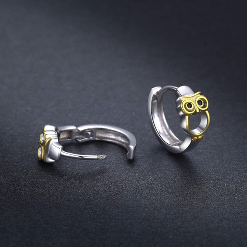 Owl Hoop Huggie Earrings 925 Sterling Silver jewelry Gift For Women