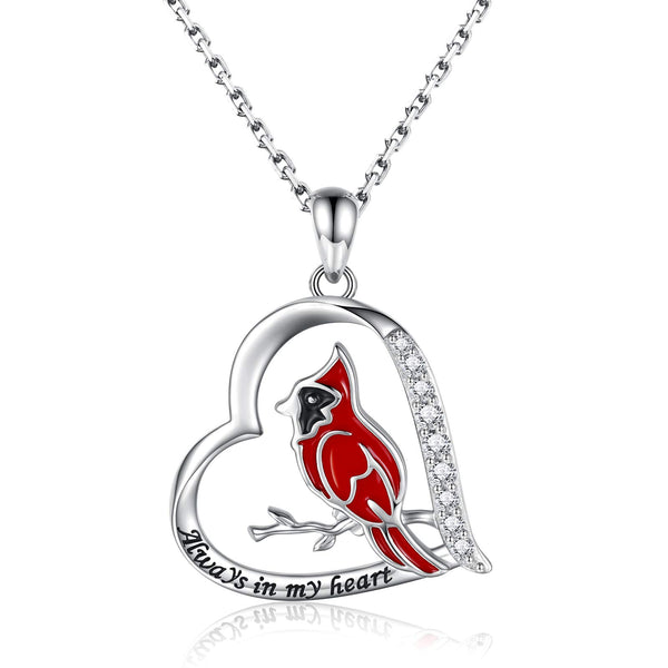 Cardinal Heart Pendant Necklace Sterling Silver Jewelry Gift for Women Girl