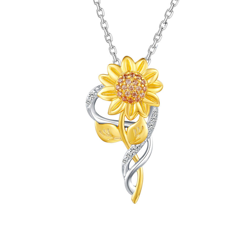 Sunflower Pendant Necklace 925 Sterling Silver Jewelry For Women Girls
