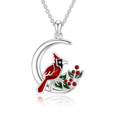 Cardinalr Red Bird Moon Pendant Necklace 925 Sterling Silve Memorial Gifts for Women Friends