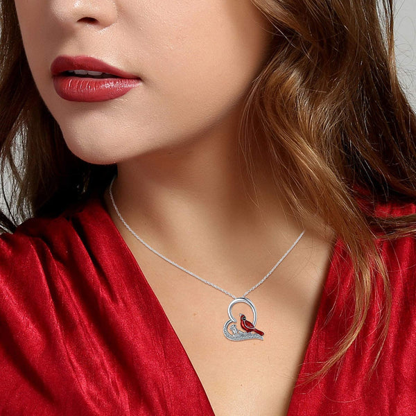 Cardinal Rose Heart Pendant Necklace 925 Sterling Silver Jewelry Gifts for Women Friends
