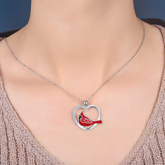 925 Sterling Silver Cardinals Heart Pendant Necklace Gift for Women - Cardinal appear when Angels are near