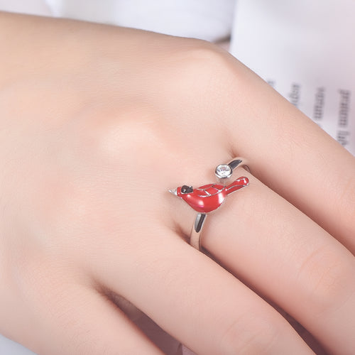 Red Bird Cardinal with Zircon 925 Sterling Silver Open Ring Gift for Women Girls - Cardinal appear when Angels are near