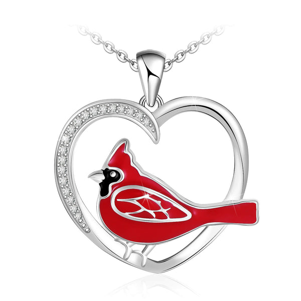 925 Sterling Silver Red Birds Cardinals Heart Pendant Necklace Gift for Women