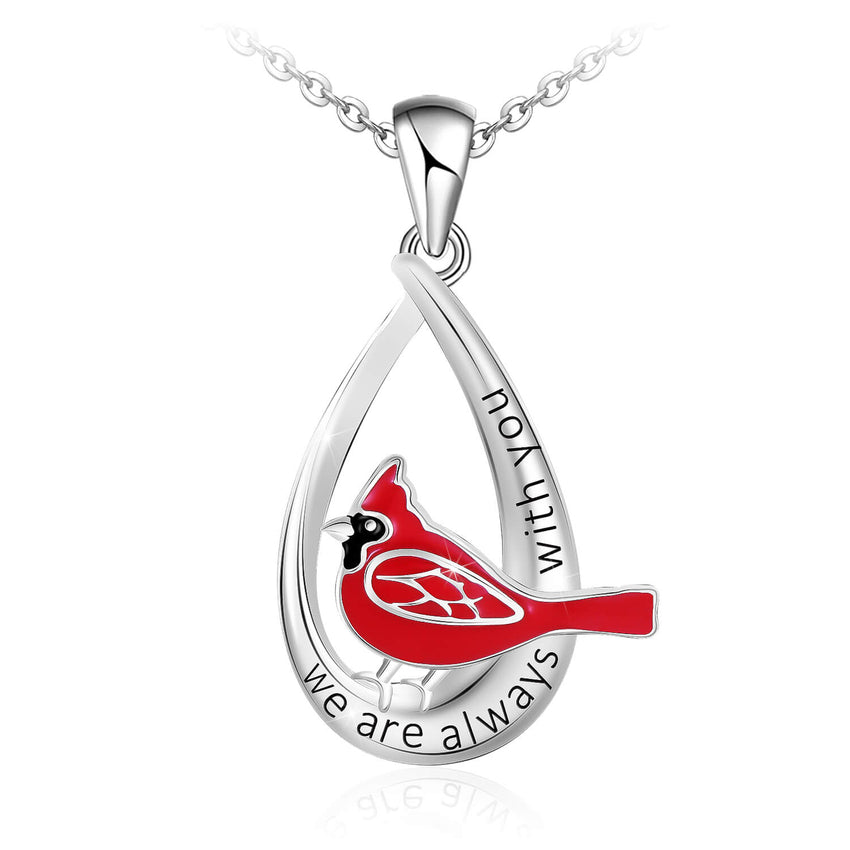 Cardinal Red Bird Drop Pendant Necklace 925 Sterling Silver Memorial Gifts for Women Friends