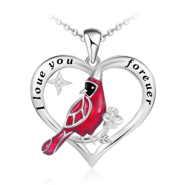 925 Sterling Silver Red Cardinal Bird Heart Pendant Necklace Memorial Jewelry Gift for Women Girls