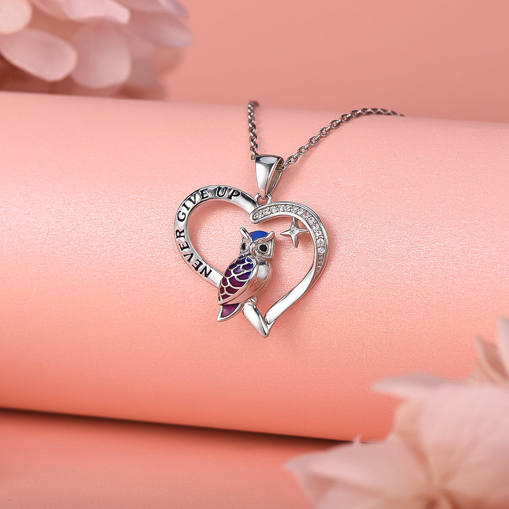 Owl Love Heart Pendant Necklace Sterling Silver for Women Girls