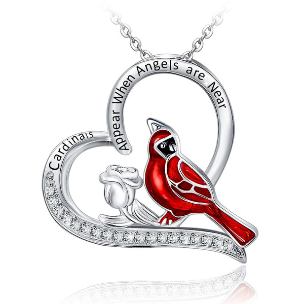 Cardinal Lovebirds Pendant Necklace Printed Line Male and Female Cardinal