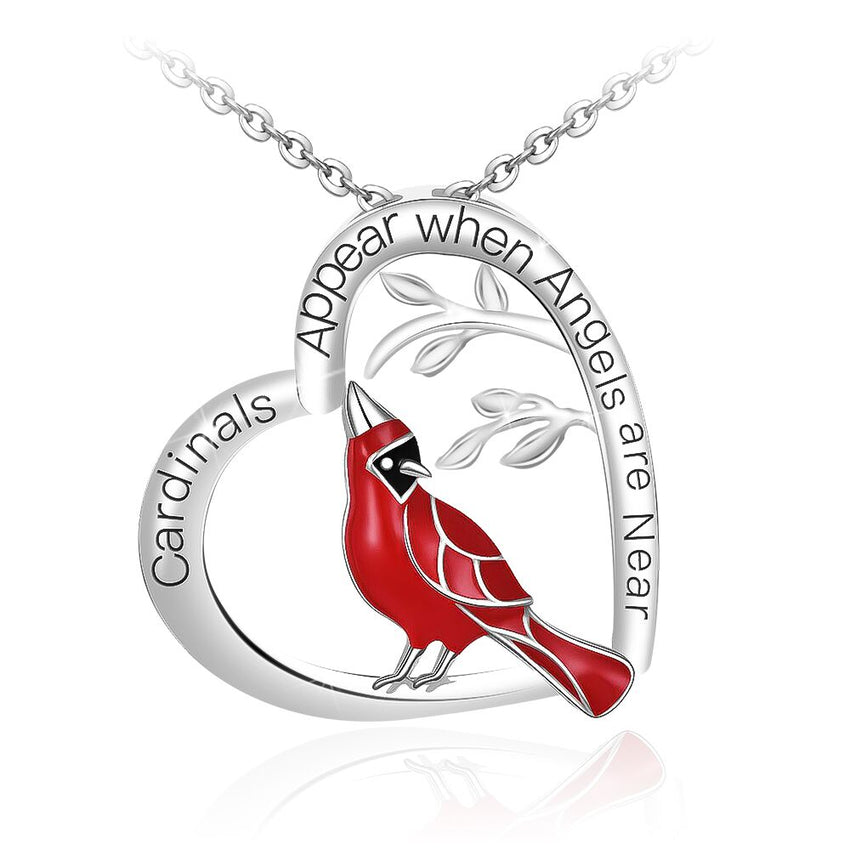 Cardinal Heart Pendant Necklace Jewelry Gifts for Women - Cardinal appear when Angels are near