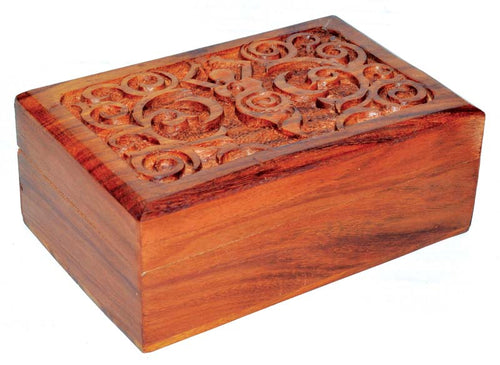 Box, Wood with Goddess carving