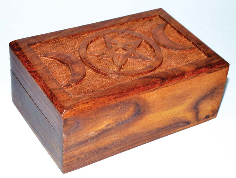 Box, Wood with Triple Moon Pentagram