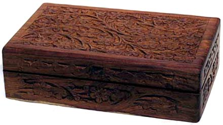 Box, Wood Box with Floral Carving