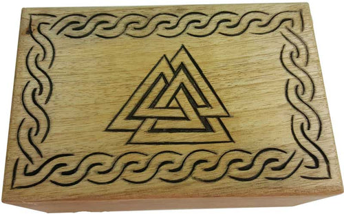 Box, Wood with Triangles Carving