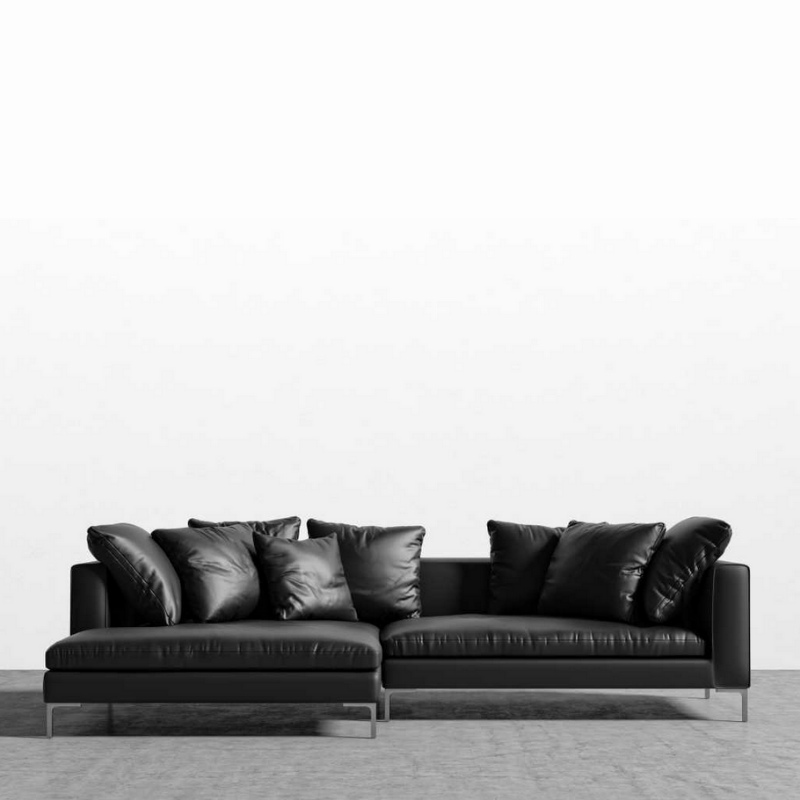 RS Private Collection Sectional, Palermo Black Waxy Leather (LHF)