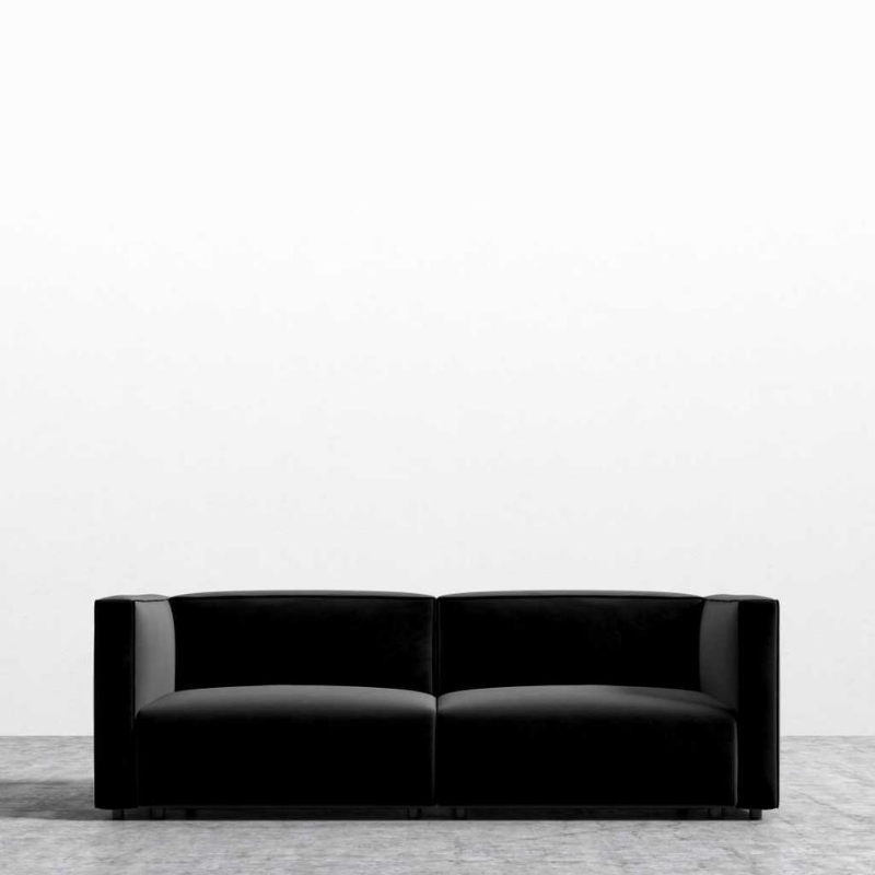 RS Private Collection Sofa, Black Vintage Velvet