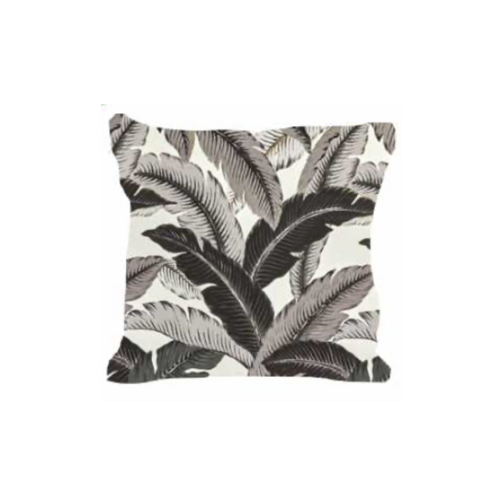 Outdoor Throw Pillow, Zen Black Banana Leaves
