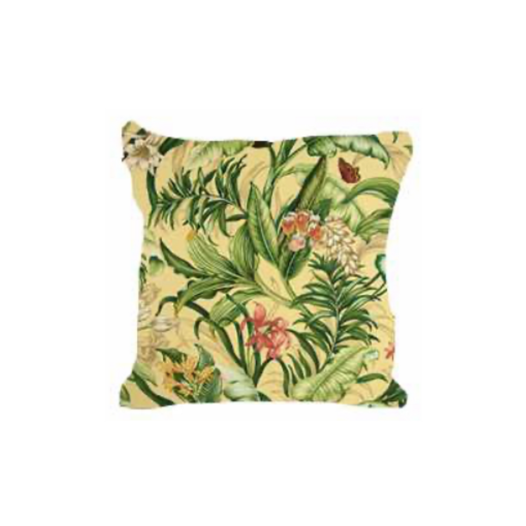 Outdoor Throw Pillow, Mellow Yellow Fiji Orchids