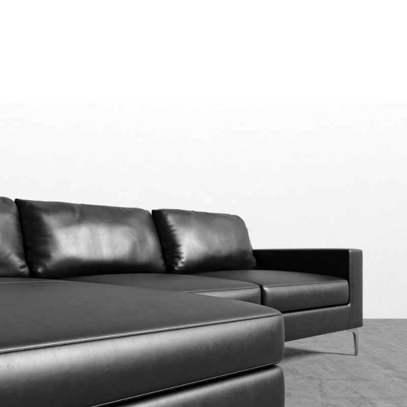 RS Private Collection Sectional, Black Palermo Leather