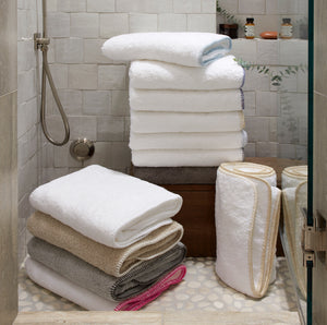 Whipstitch Towel Collection, White/White