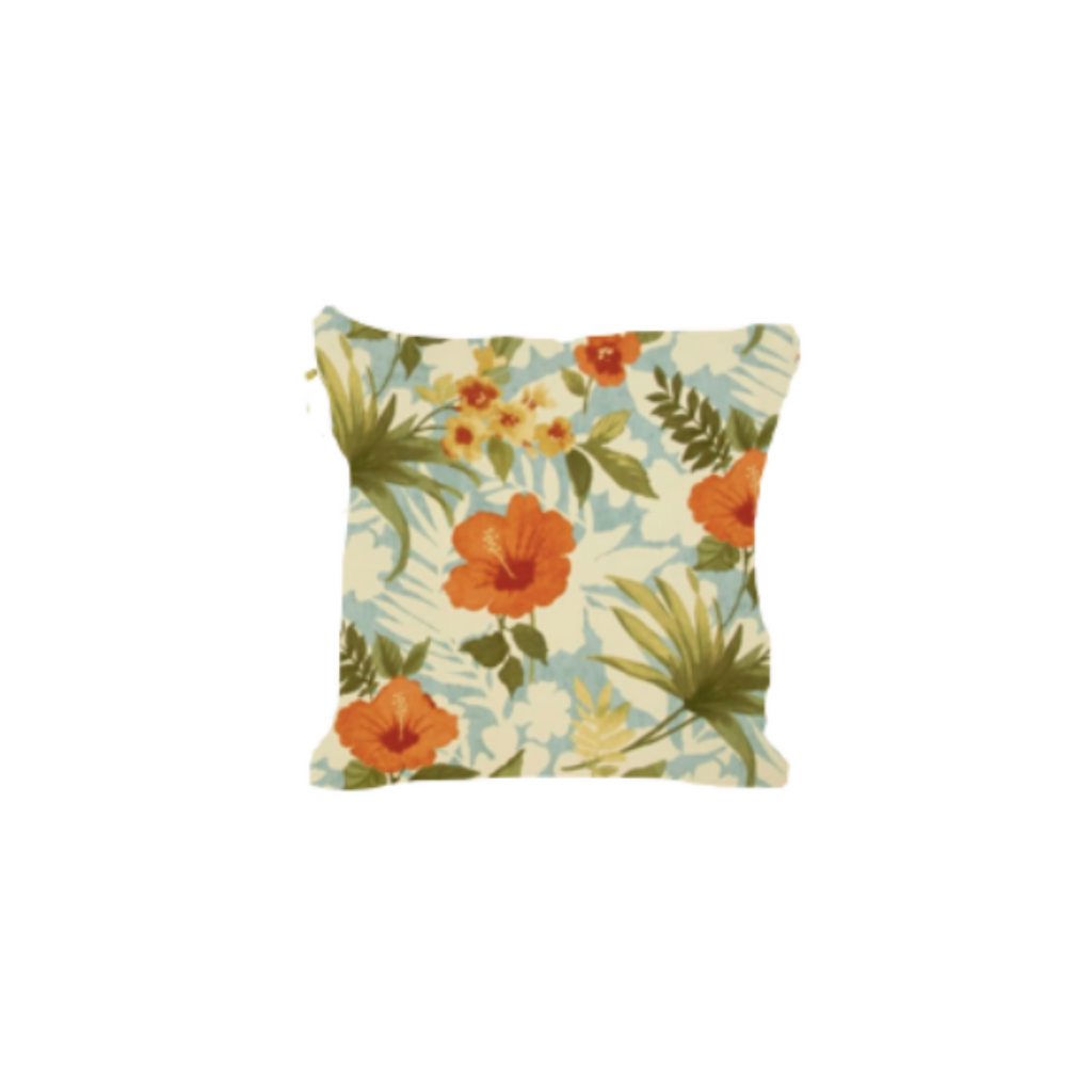 Outdoor Throw Pillow, Retro Tropical Hibiscus