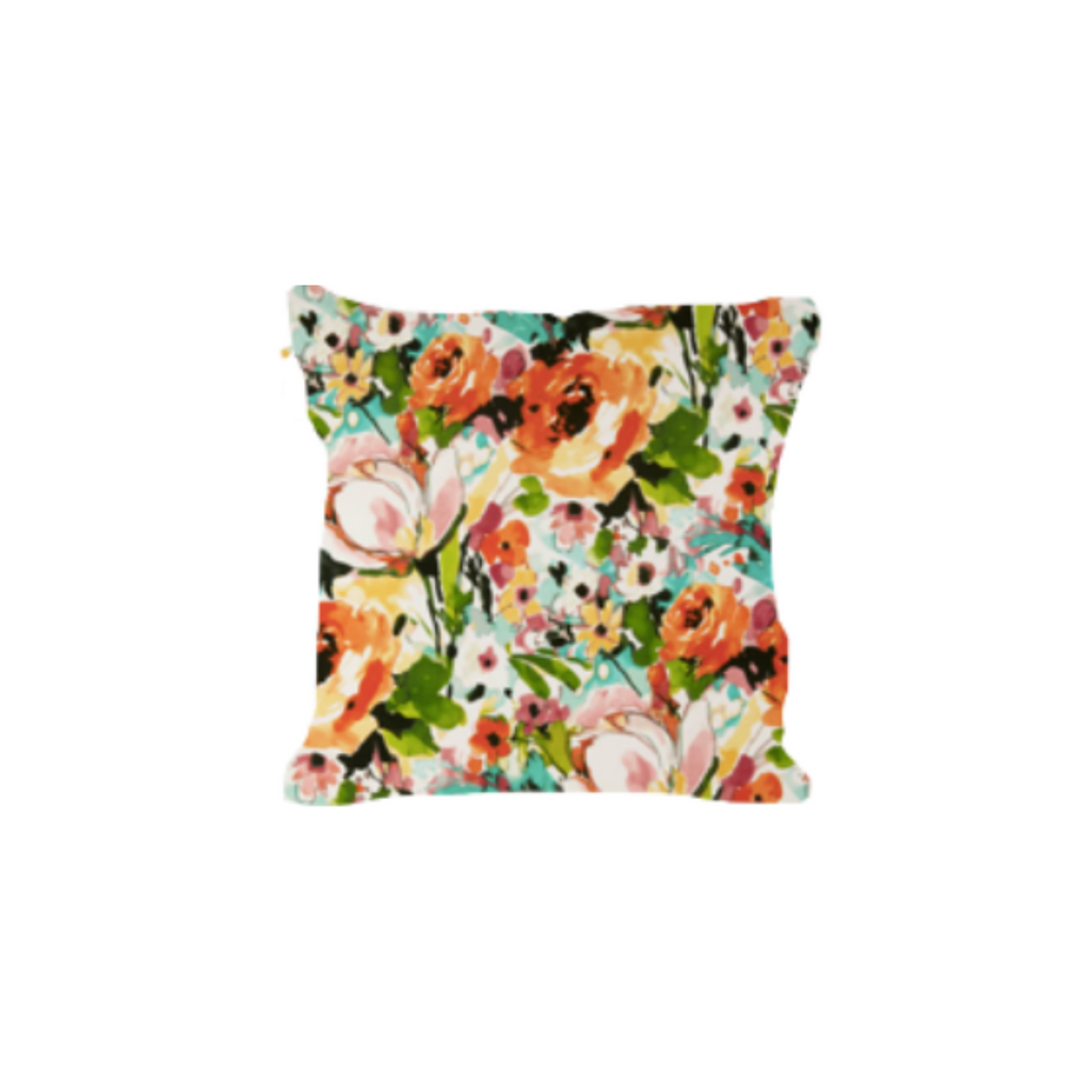 Outdoor Throw Pillow, Spring Basket - Flowers