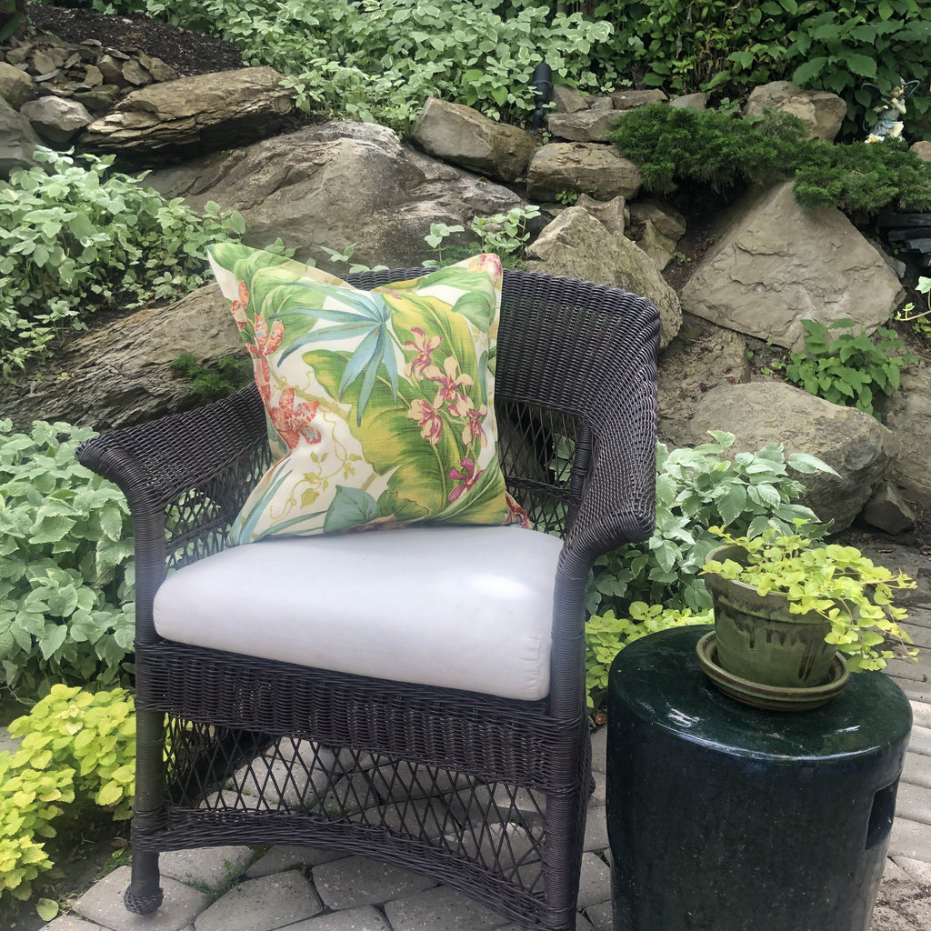 Outdoor Throw Pillow, Orchid Botanical