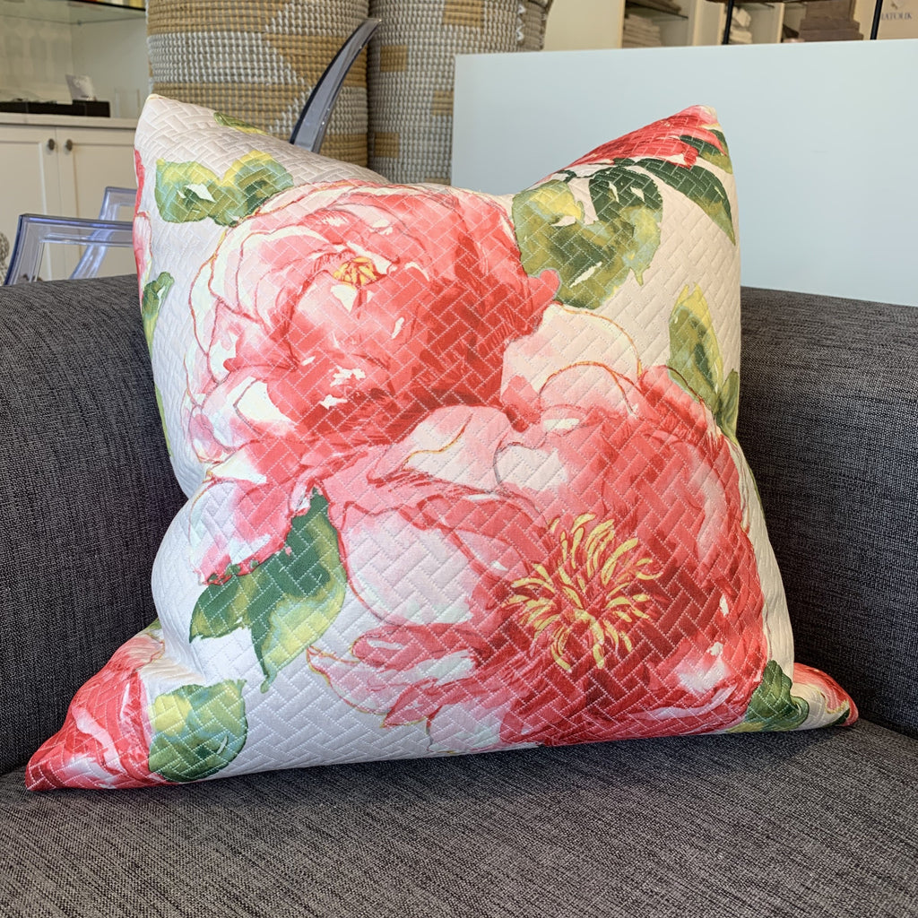 Throw Pillow, Coral Floral Matelasse