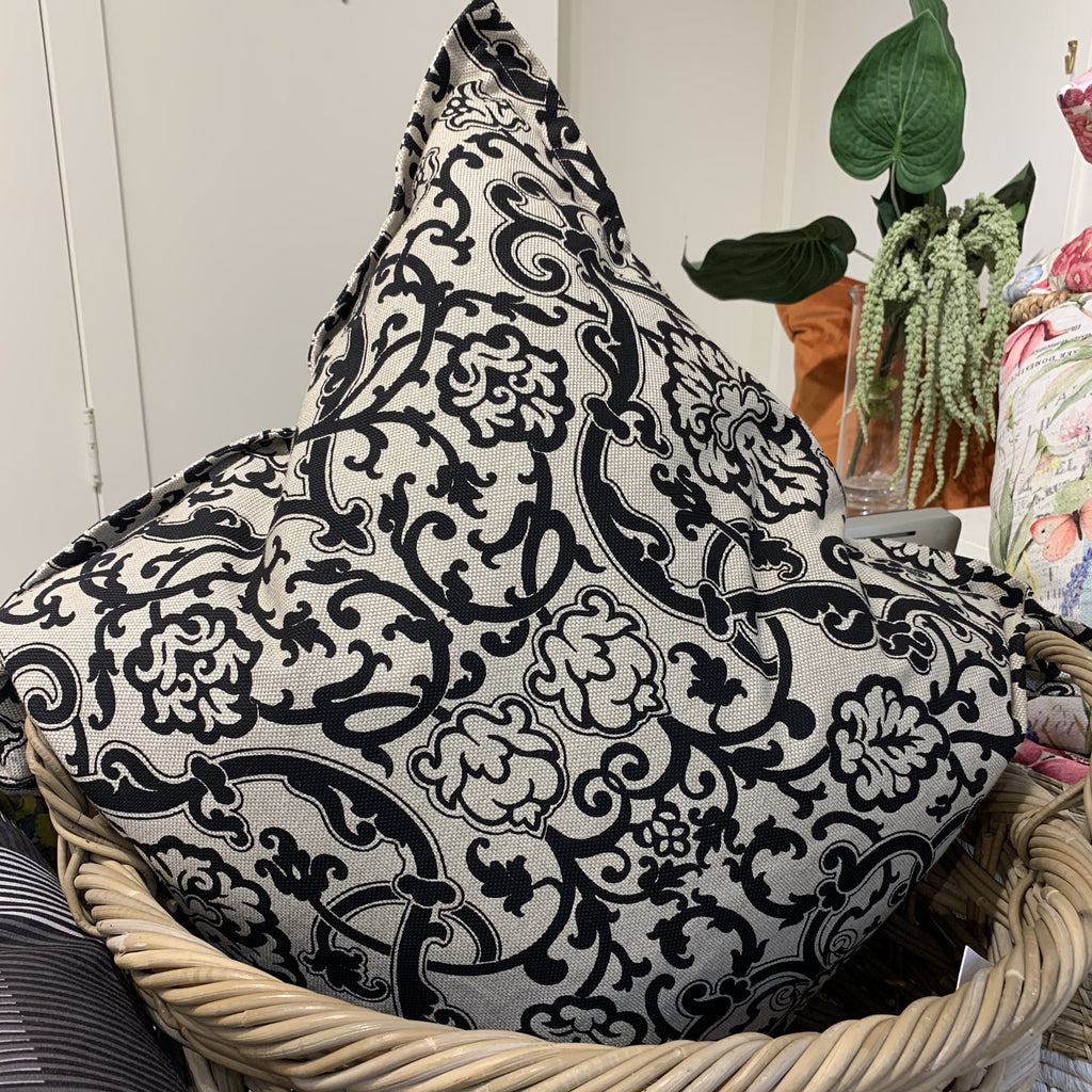 Throw Pillow, Black Damask Cotton & Linen