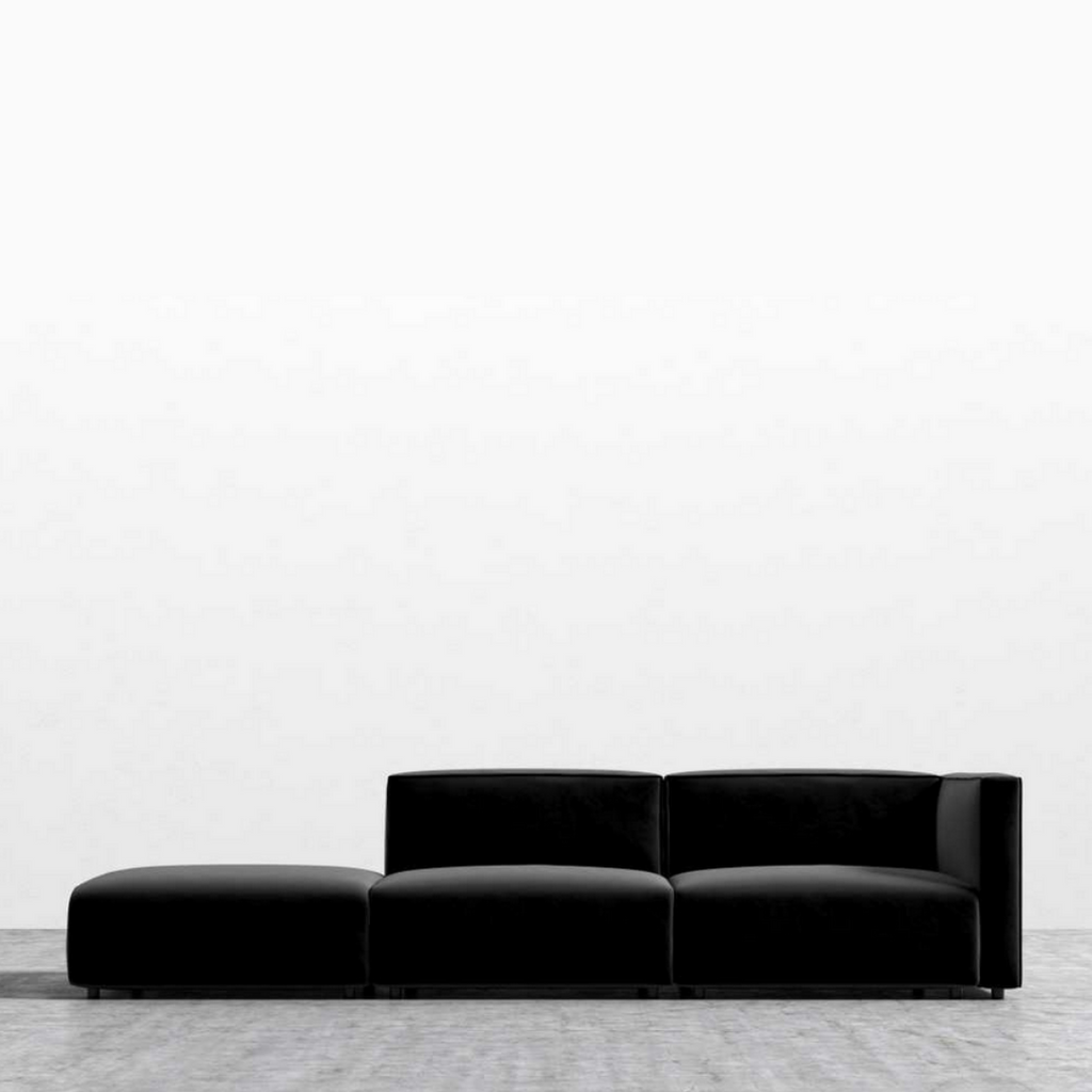 RS Private Collection Modular Sofa with Open End, Black Vintage Velvet