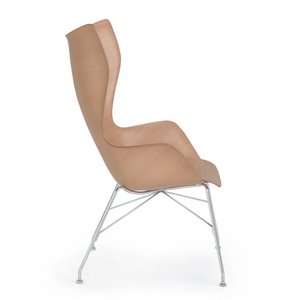K/Wood Arm Chair, Light Wood/Chrome
