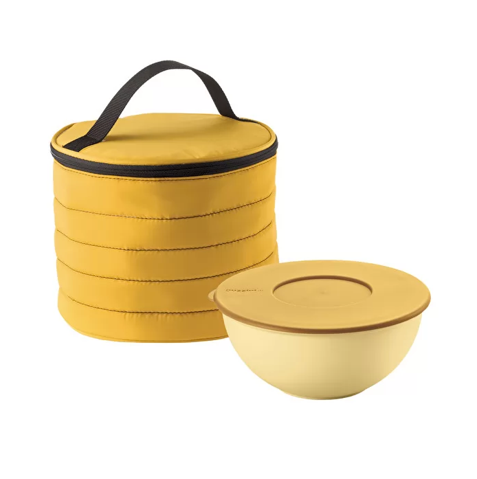 ROUND THERMAL BAG W/AIRTIGHT CONTAINER, Ochre