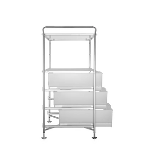 MOBIL Three-Drawer Unit with Open Shelf, Translucent Ice